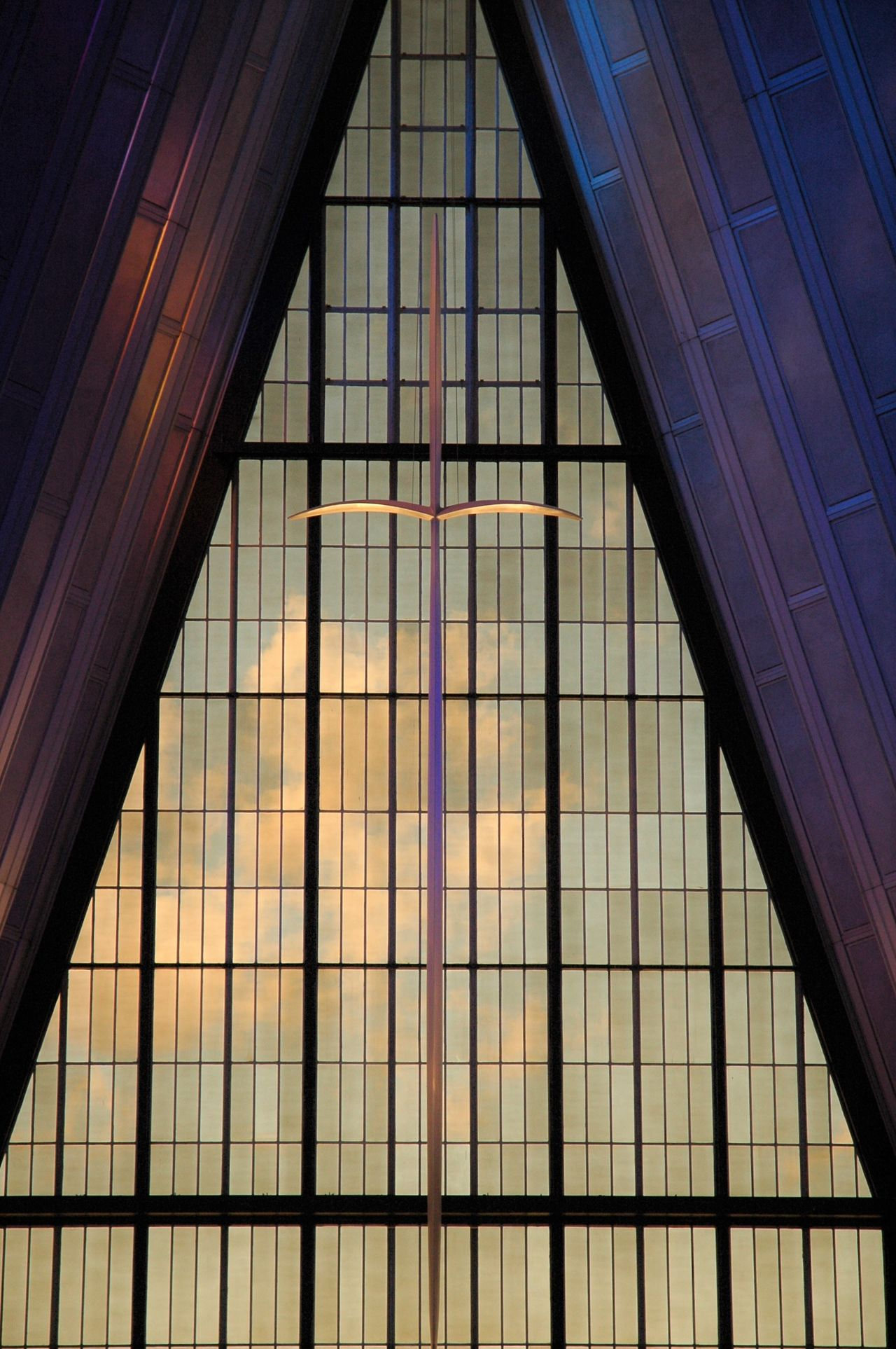 Architectural Feature Architecture Chapel Christian Cross Indoors  Metal USAF Academy Window