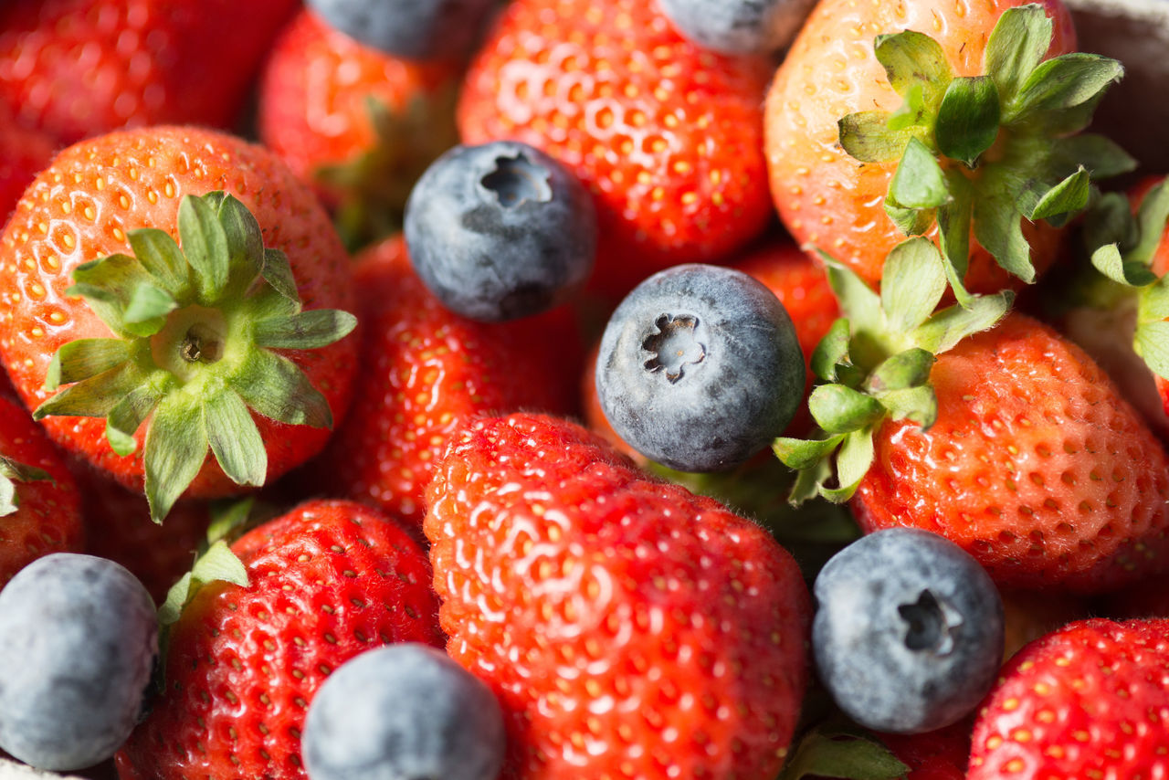 Close-Up Of Strawberries And Blueberries
