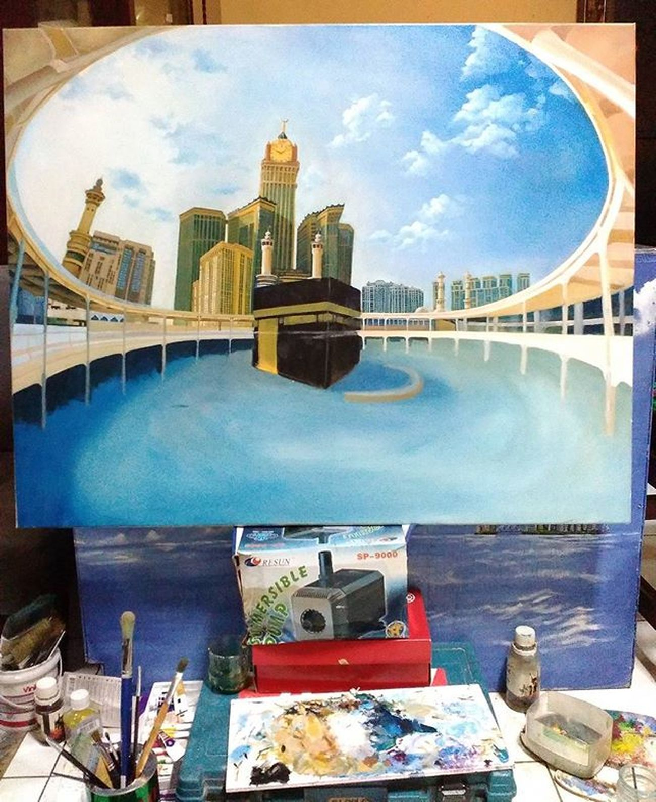 On Progres.. Masjidilharam Kabah Sketch Art Arsitektur Mood Mecca Oil Paint Oiloncanvas Canvas Progrès Islam