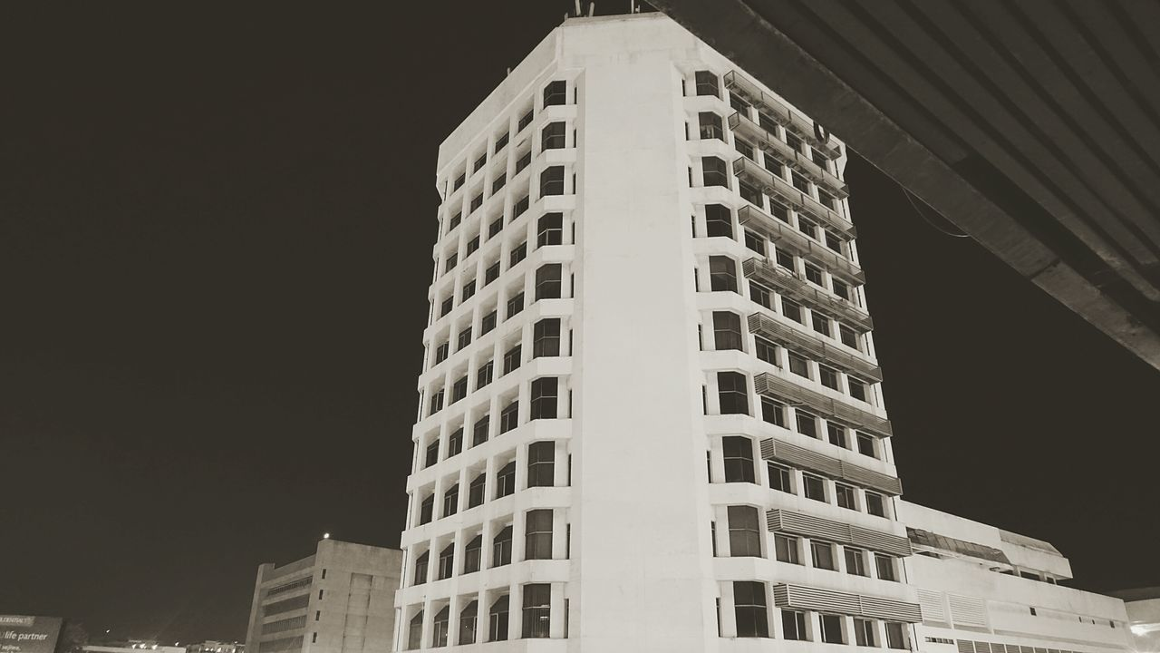 City Architecture Building Exterior Low Angle View Skyscraper Built Structure Modern Urban Skyline Night Light And Shadow Kota Kinabalu Sony A6000 Vintage Photography Sabah Malaysia Retrostyle Nightlife Black And White Photography EyEmNewHere City Life