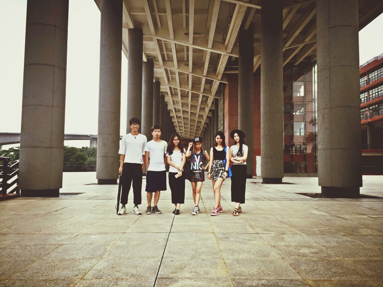 architectural column, full length, architecture, real people, day, built structure, boys, girls, indoors, lifestyles, togetherness, friendship, people