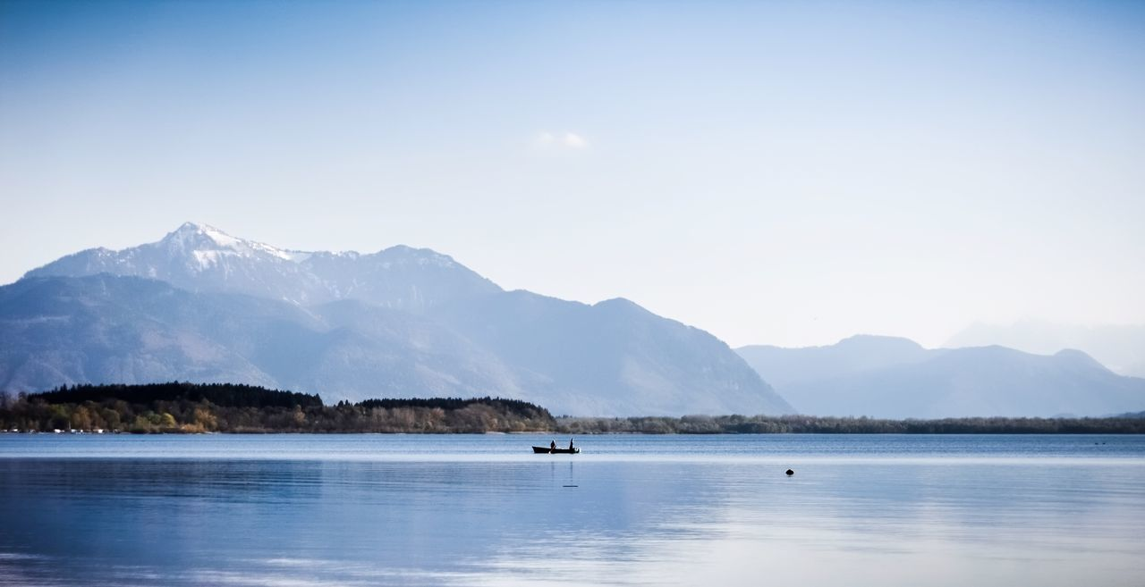 Beauty In Nature Boat Bored Chiemsee Lake Landscape Majestic Mountain Nature Outdoors Scenics