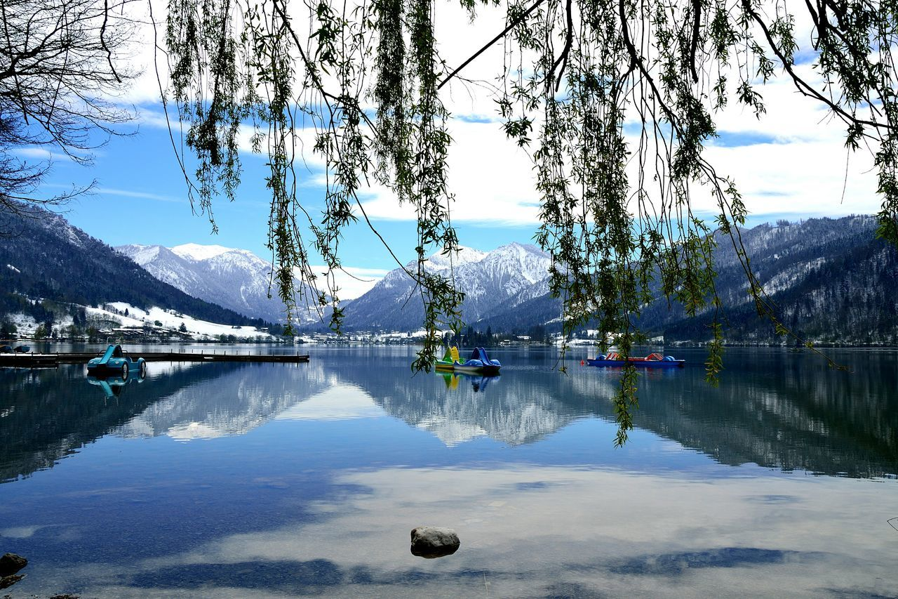 Schliersee Bayern Germany Water Nature Day Lake Mountain Outdoors Beauty In Nature No People Sky Scenics Tree Lanscape Mirroring In Water Snowcapped Mountain Boats Schliersee, Bayern Reflections