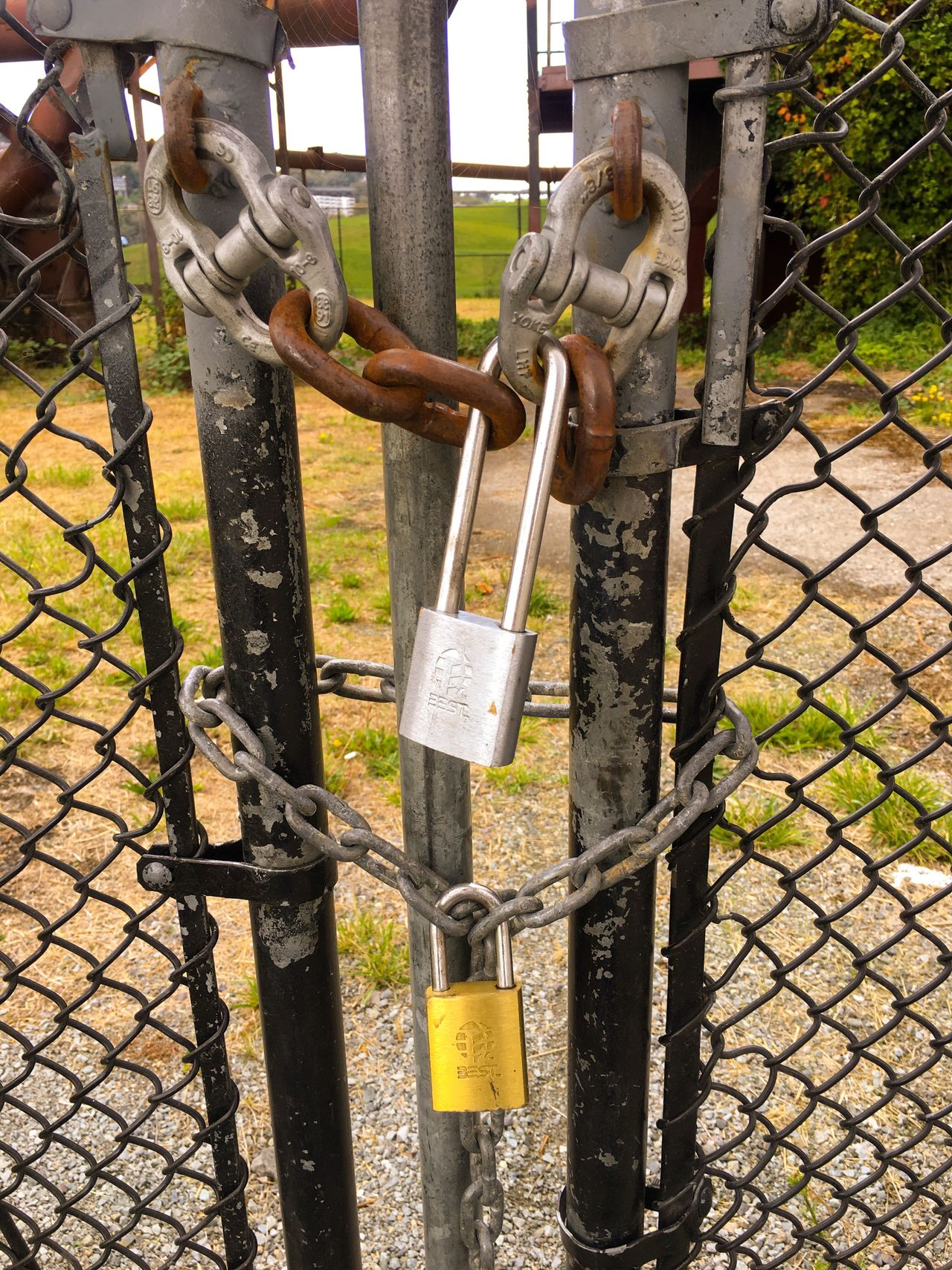 Gate Padlock Chain Locked Gasworks Industrial Area Refinery