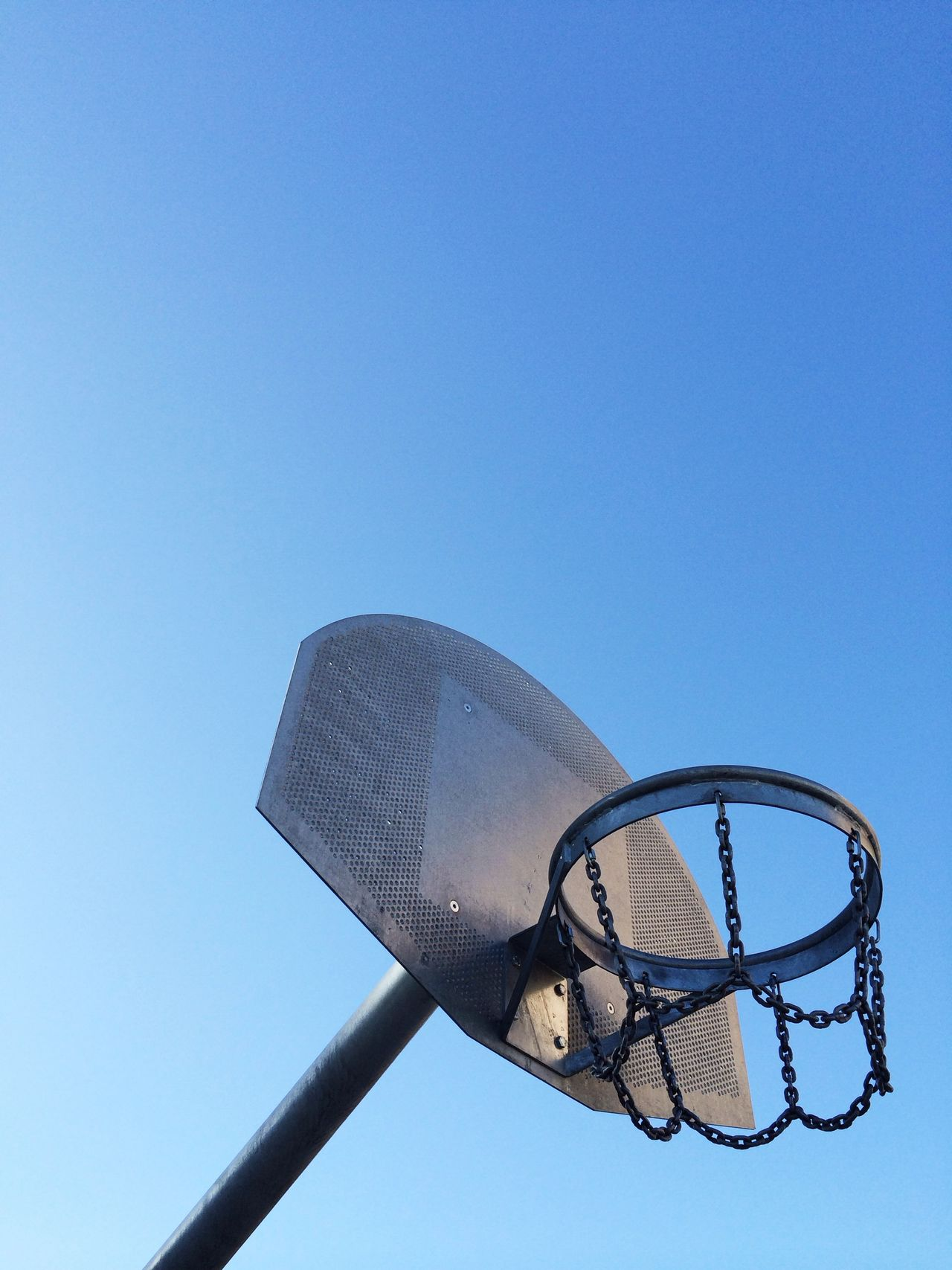 Beautiful stock photos of basketball, Basketball, Basketball Hoop, Blue, Clear Sky