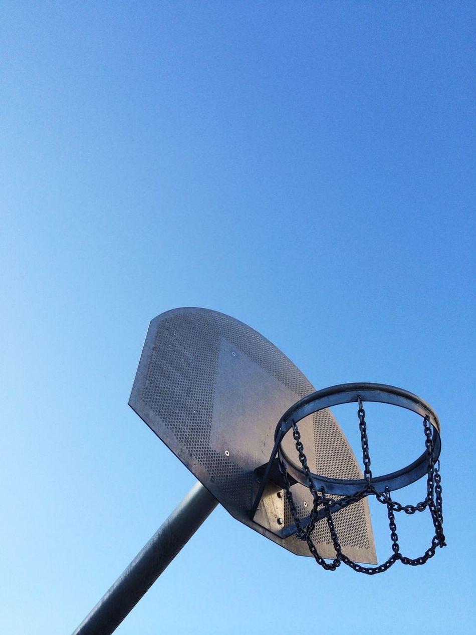 Beautiful stock photos of basketball, Basketball, Basketball Hoop, Blue, Clear Sky