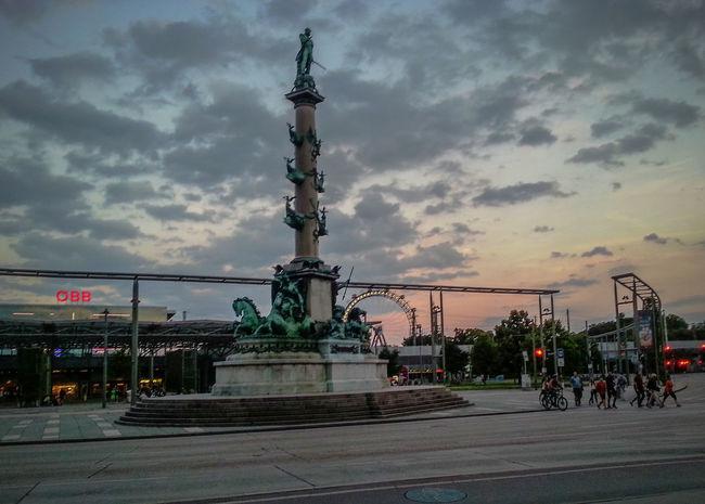 Big Wheel Cloudporn Clouds Dusk Memorial Monument Praterstern Riesenrad Road Sunset Traffic Train Station Vienna Wien