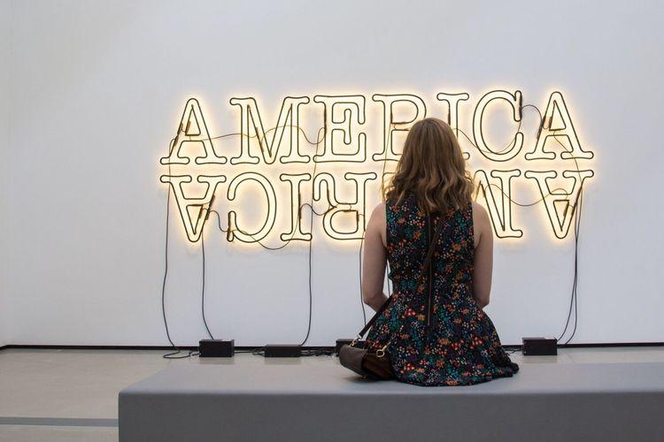 America Art ArtWork Light Sign Sculpture Girl Women Fashion Dress The Broad La Los Ángeles Museum Broad