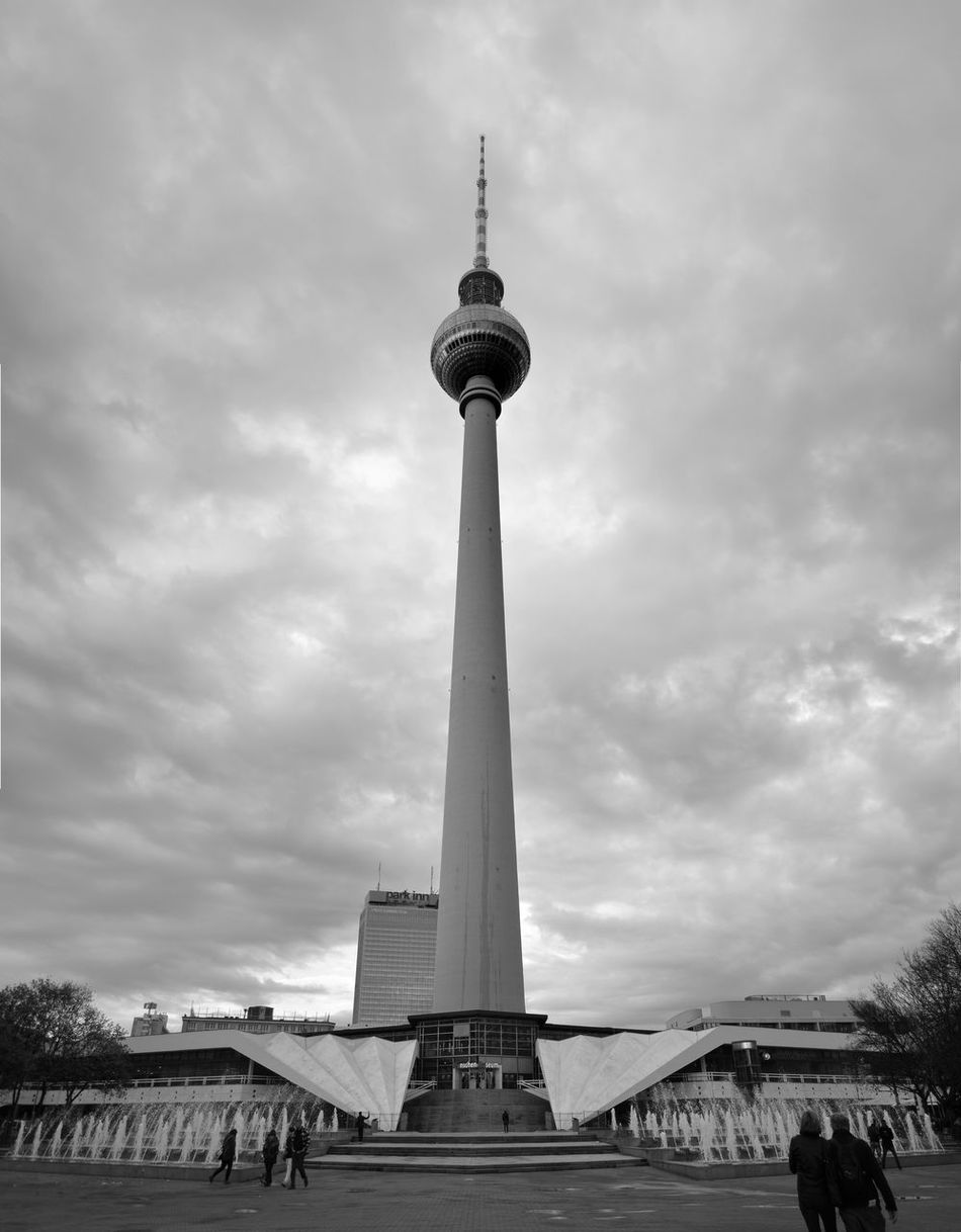 Black and white photography in Alexander Platz, Berlin. This is the tv tower called Fernsehturm. Panoramic Photography Berlin Black And White Built Structure City Fernsehturm Berlin  Sky Tower TV Tower