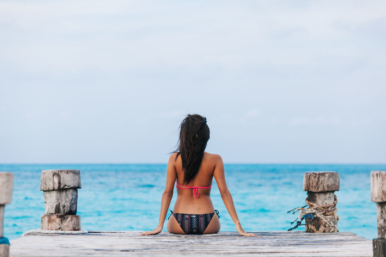 Beautiful stock photos of mexiko, sea, water, rear view, beach