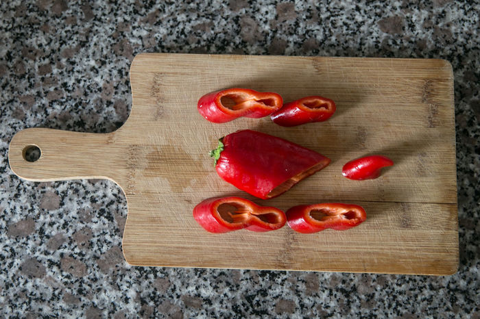 Red Pepper Directly Above Food Food And Drink Freshness Fruit Indoors  Indulgence Ready-to-eat Red Tomato Wooden