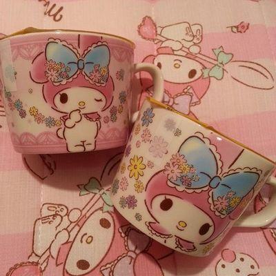 サンクスのゼリーちゃんと買ったよ(^o^)/今回のも絵柄まじタイプ♡ 前回もサンクスのマグカップゼリー2種類買ったなー(*´ω`*)♡ Mymelody Cute Sanrio マイメロ ゼリーjelly pinkサンクスマグカップSunkusorange Mugs kawaii♡♡