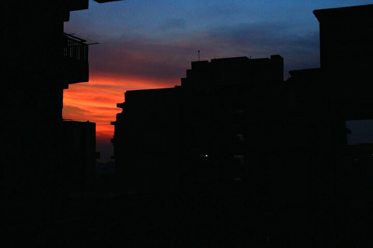 silhouette, sunset, architecture, sky, built structure, building exterior, no people, cloud - sky, outdoors, city, night, nature