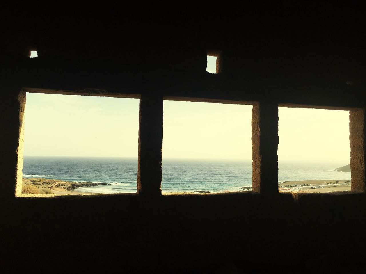 Sea Window Water Horizon Over Water No People Clear Sky Scenics Indoors  Sky Nature Beach Day Architecture