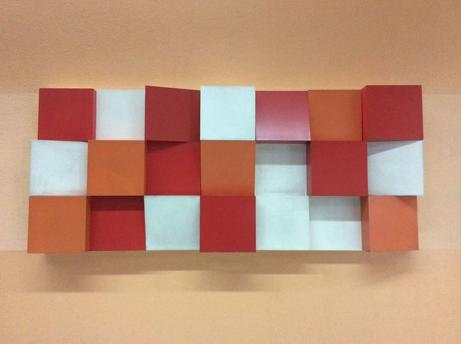 Ampang Park Mass Transit Railway  station Public Art coloured squares Red Orange Yellow Malaysia Wall Art White Squares Light And Shadow