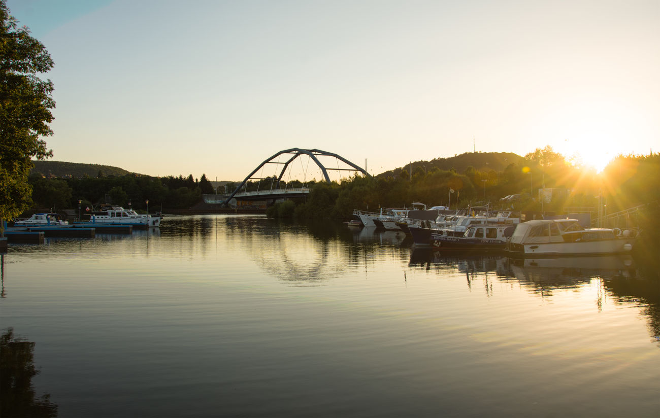 Boats Bridge Bridge - Man Made Structure Deutschland Docks EyeEm Nature Lover Germany Hafeb No People Outdoors Reflection River Saar Saarbruecken Saarland Saarland University Shipping  Summer Sunset Tree Water