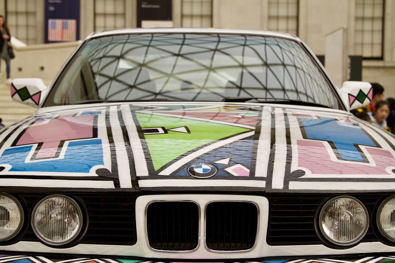 Esther Mahlangu's BMW Art Car Art ArtWork Bmw Car Day Esther Mahlangu Geometric House Painting Land Vehicle Logo Logo Mode Of Transport Ndebele No People Pattern Southafrica Stationary Transportation