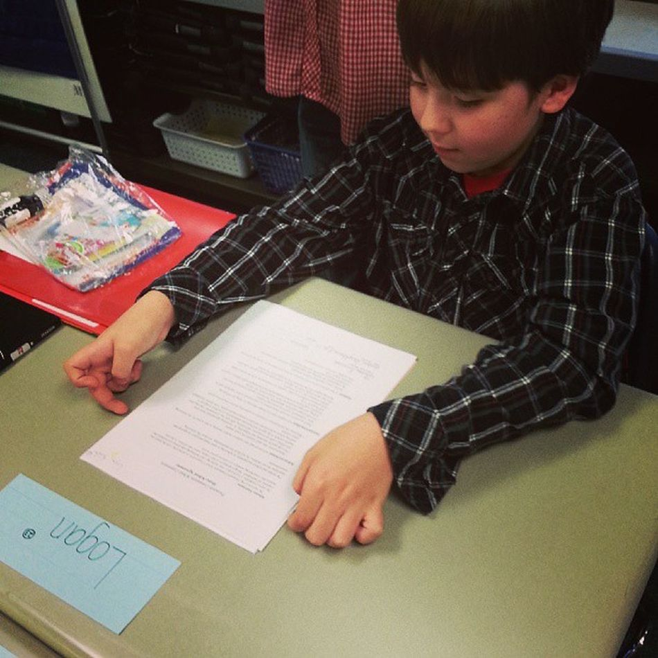 Mr Logan Love getting comfortable at his new desk :') Sobig Myreason Manofmydreams I officially have a fourth grader! Ahhh!!