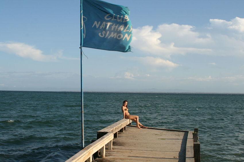 Bikini Carribean Carribean Girl Carribean Sea Cloud - Sky Horizon Over Water Leisure Activity Margarita Island Margarita, Venezuela Nature Pier Rear View Sea Sky Vacations Playa El Yaque