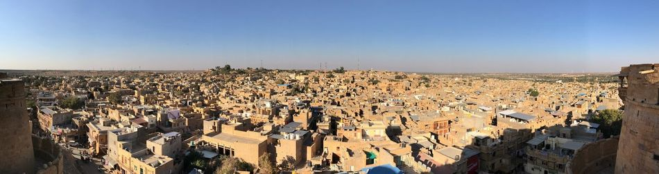 Panorama of Jaisalmer from the Golden Fort High Angle View Lifestyles Sunlight Outdoors Real People Clear Sky Built Structure Leisure Activity Architecture Crowd Building Exterior Cityscape City Day Sky