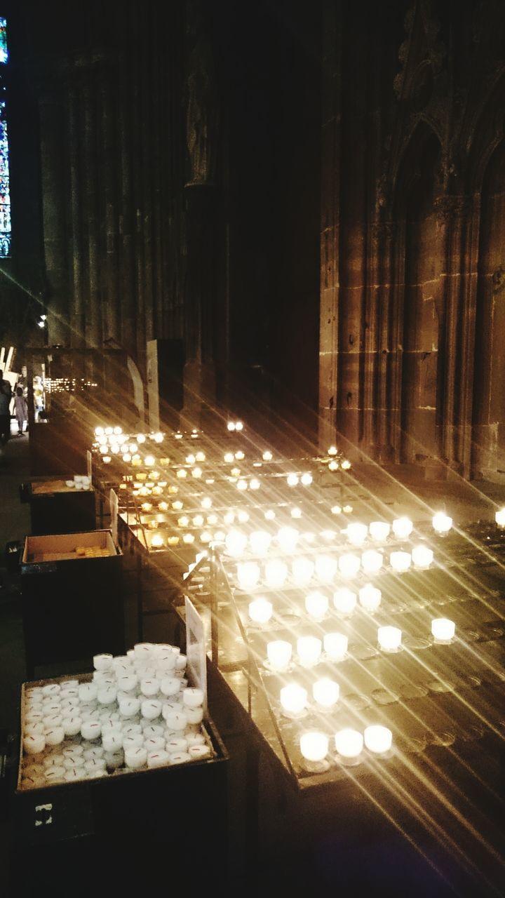 illuminated, candle, religion, spirituality, no people, place of worship, indoors, night