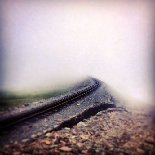 Railroad Track Fog Track Gravel