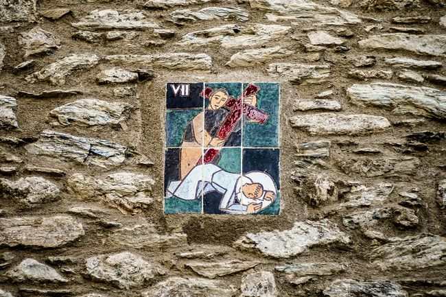 Station 7: Jesus falls the second time Open Edit Stations Of The Cross Color Ceramic Iconoghraphy Stonewall