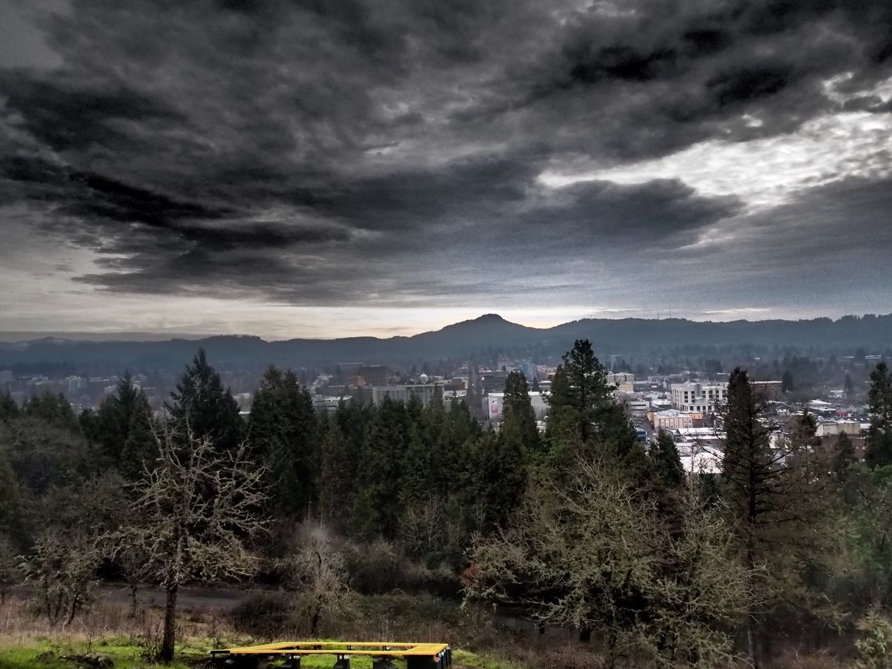 Stopped on the way to work today for this iconic view across Eugene, Oregon from Skinner's Butte to Spencer's Butte on a winter day.Spencer's ButteeEugene Oregonn Eye Em Nature Lover Stormy Weather My Commute