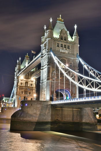 An Eye For Travel Great Views London Nightphotography Sightseeing Tower Bridge  Architecture Bridge - Man Made Structure Building Exterior Built Structure Bulb Bulbs Chain Bridge City Connection Illuminated Langzeitbelichtung Night No People Outdoors Sky Transportation Travel Travel Destinations Water