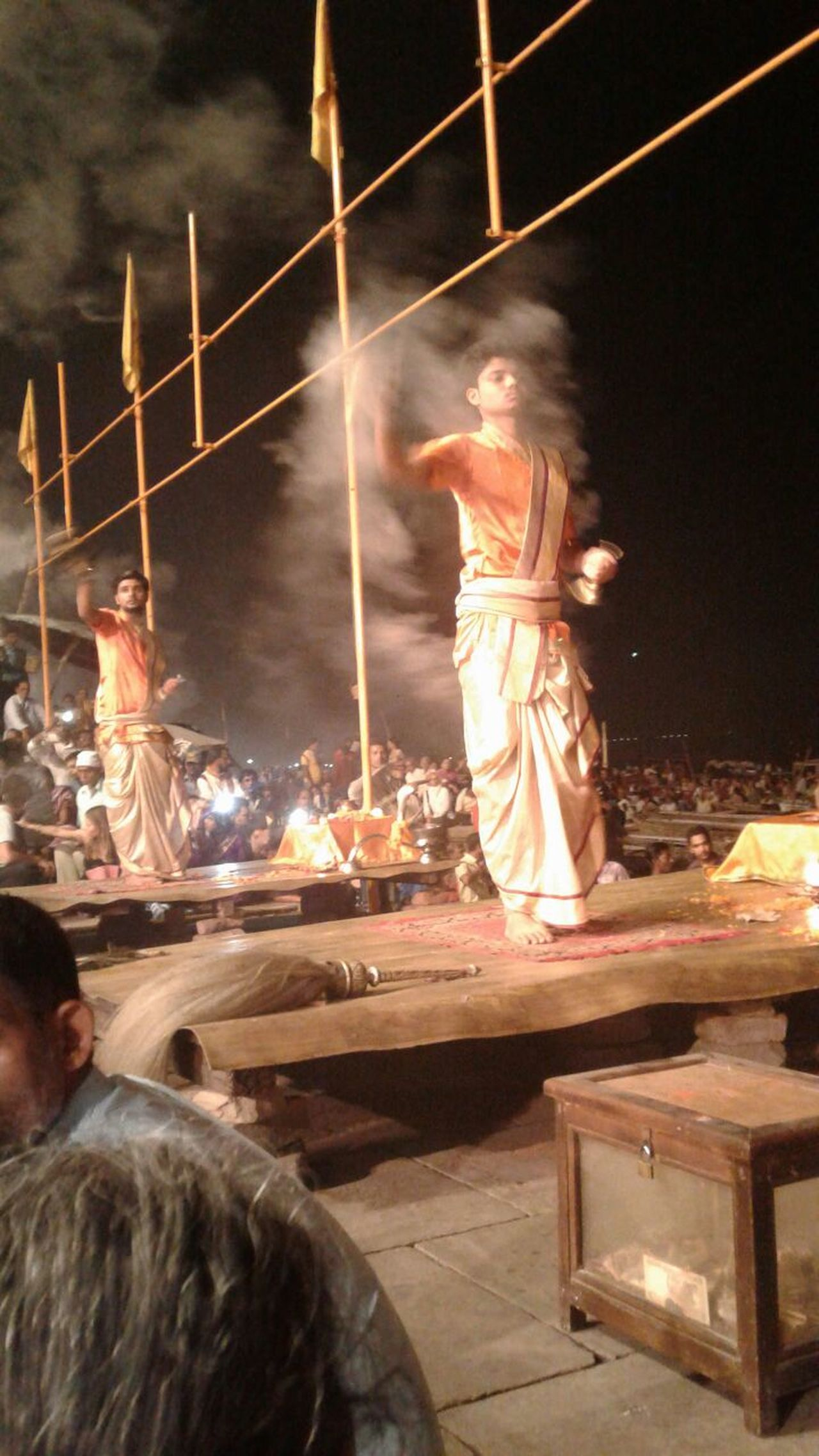 Varanasi, India Ganges, Indian Lifestyle And Culture, Bathing In The Ganges, Varanasi Ghats Flame Arti Flame Burning Puja Prayer Indian Prayer