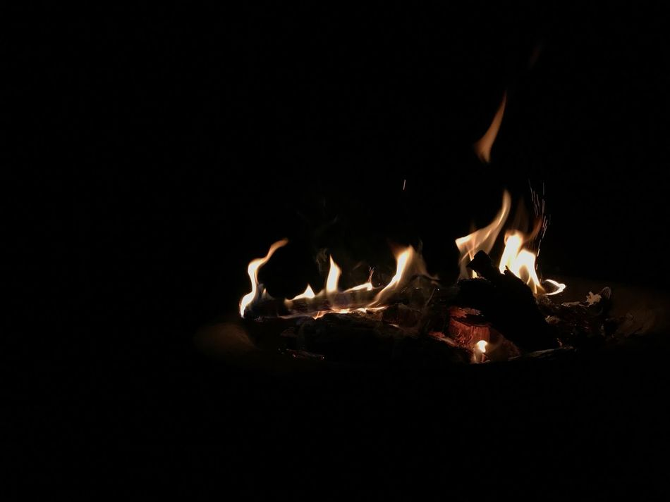 Fires of life Night Heat - Temperature Burning Flame No People Close-up Bonfire Black Background Outdoors