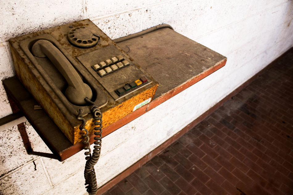 Communication High Angle View No People Old Old Phone Photo Old-fashioned Rail Phone Simple Photography Wall - Building Feature