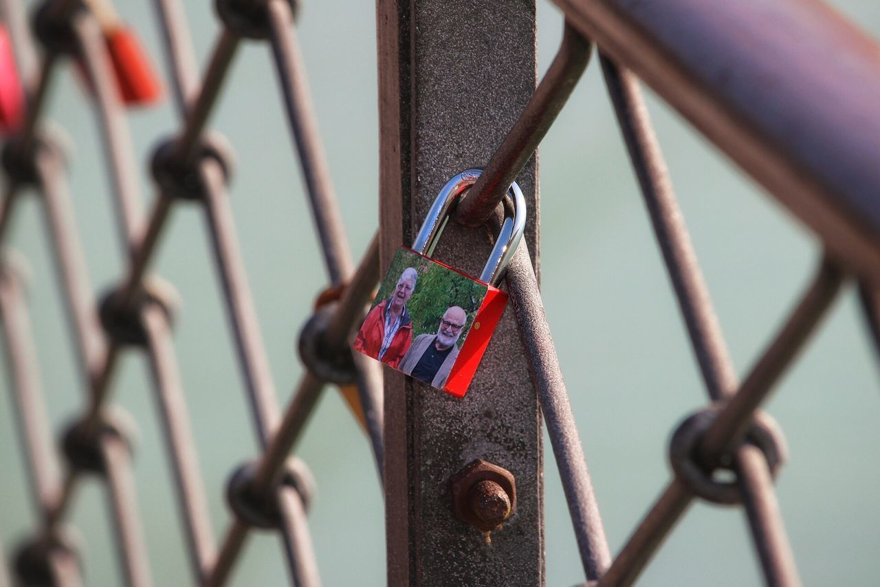 metal, security, padlock, lock, protection, safety, chainlink fence, love lock, railing, close-up, day, hanging, love, outdoors, focus on foreground, no people, safe, red, hope, sky