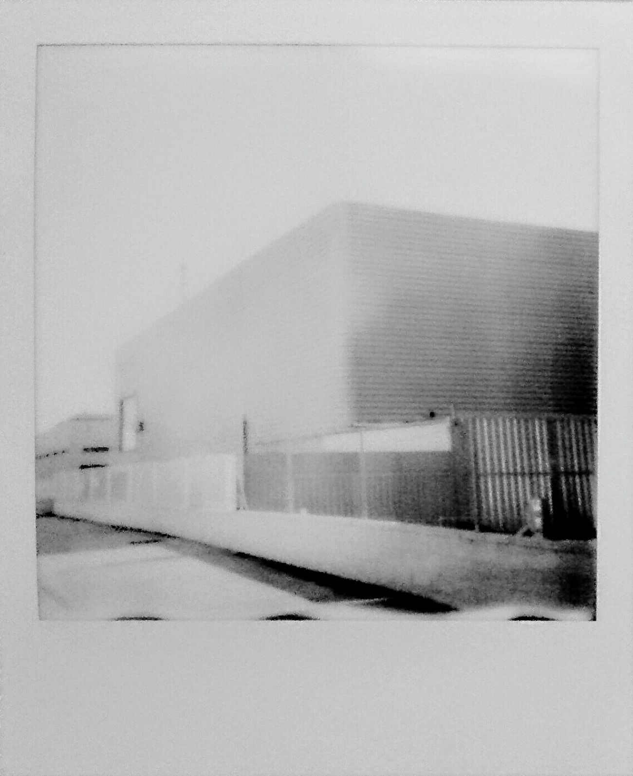 garage instant photo Architecture Built Structure Building Exterior Outdoors Instantphoto Polaroid 600 MyArt Blackandwhite Shapes , Lines , Forms & Composition No People