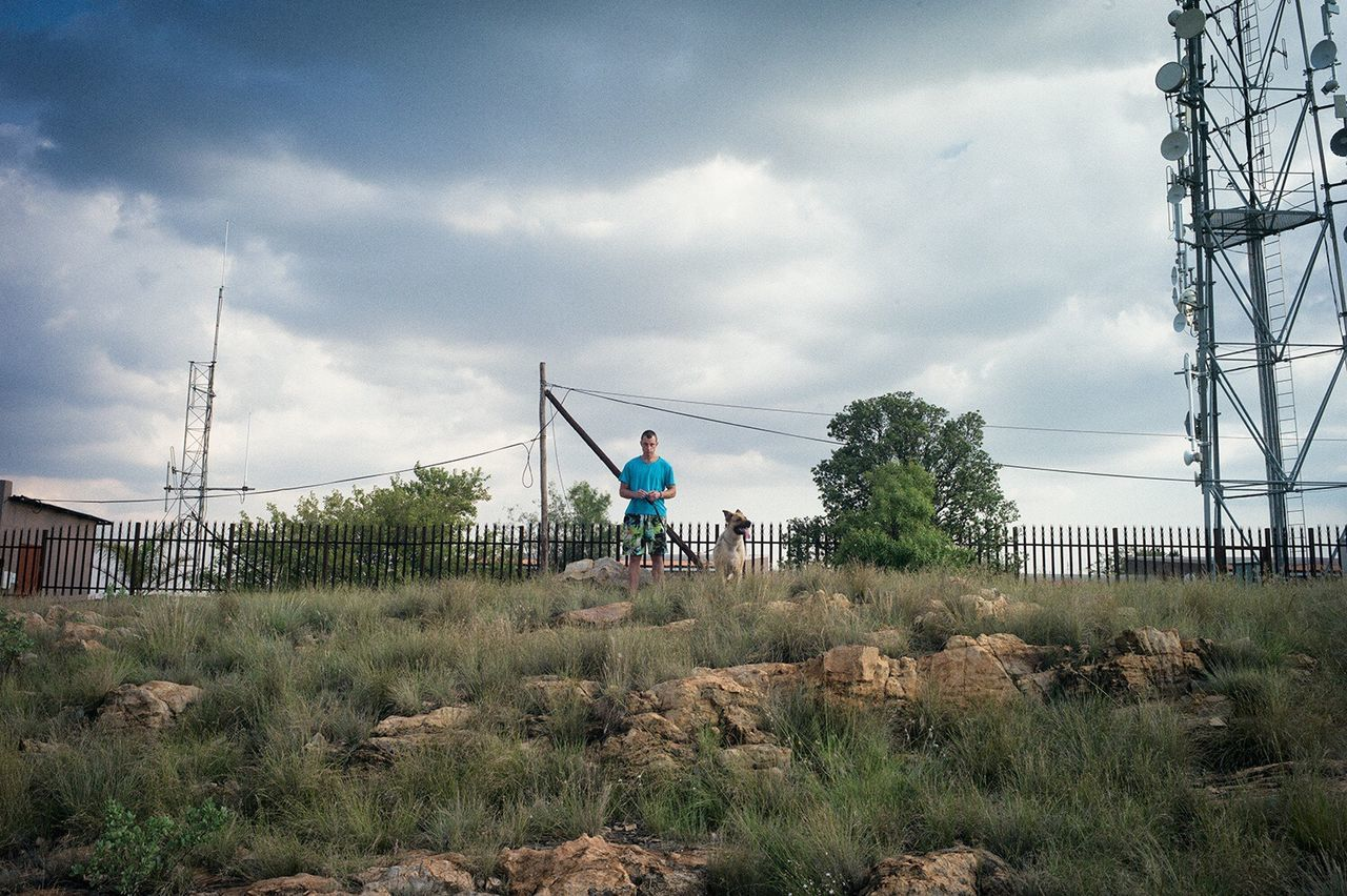ZEF Johannesburg Africa Northcliff Leicacamera Dog Man Sky Cloud - Sky Real People Lifestyles Field Full Length Outdoors Men One Person Day Tree Growth Standing Nature