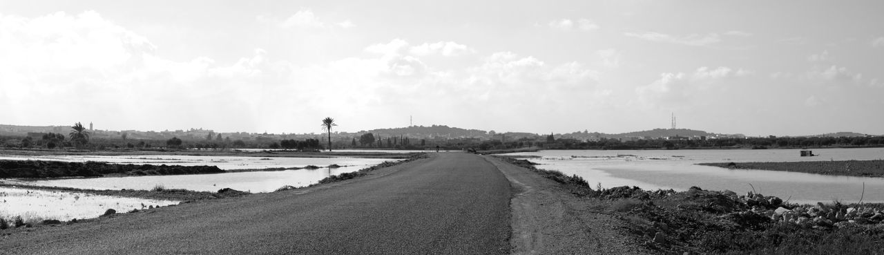 After The Rain Blackandwhite Day Flood Landscape No People Outdoors Panorama Panoramic Panoramic Photography Road Sky Tranquility Tree Water