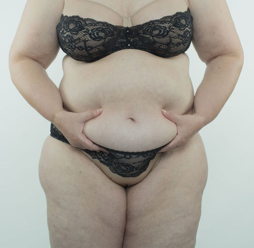 Woman making diet BBW* Diet Obesity Stomach Weight Loss Woman Abdomen Bra Cellulite Centimeter Dietary Fat Female Food Health Human Large Limp Measure Overweight Pretty Rounding Skin Underwears Weight