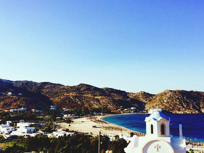 Ios Greece Sea Beach Sunny Day Mylopotas Church Allwhite