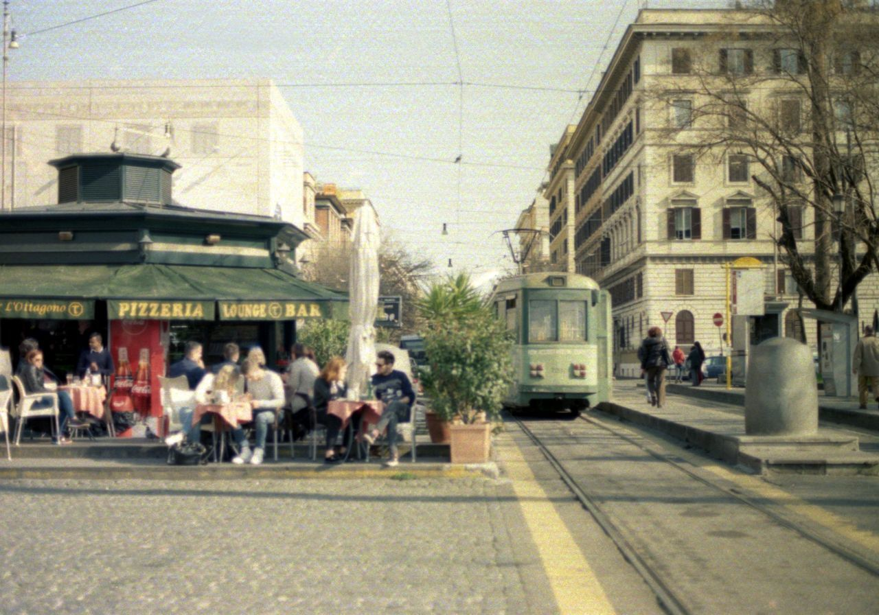 Analogue Photography Architecture Building Exterior Chill Out Chilling City Day Group Of People Italy Nikon Fm2 Nostalgia Old Town Outdoors Real People Road Rome Street Train Tram Tramway