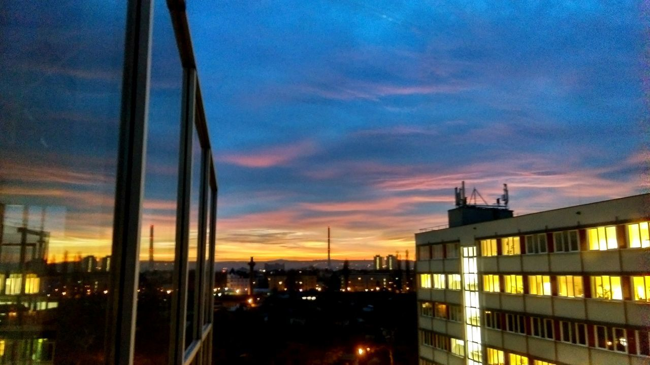 Sky Architecture Sunset City Cloud - Sky Building Exterior Built Structure Illuminated Outdoors Night No People Cityscape Nature EyeEm Best Shots Tadaa Community Sunset Silhouette outdoors❤ Dezember HTC Streetphotography City