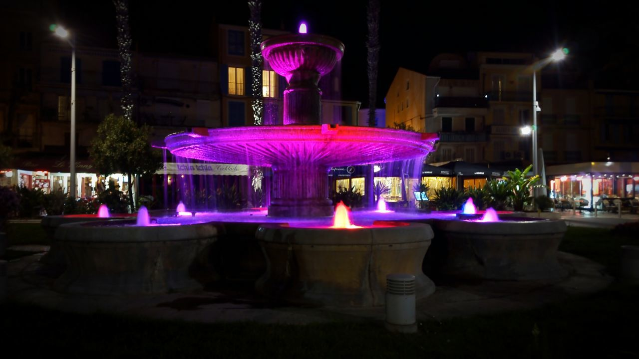 Millennial Pink Night Illuminated Purple Outdoors Architecture Fontaine Nightlife Bar - Drink Establishment Built Structure No People