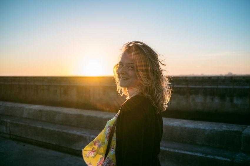 Beautiful Casual Clothing Girl Leisure Activity Lifestyles Outdoors Porto Sky Summer Summertime Sun Sunlight Sunset Warm Light