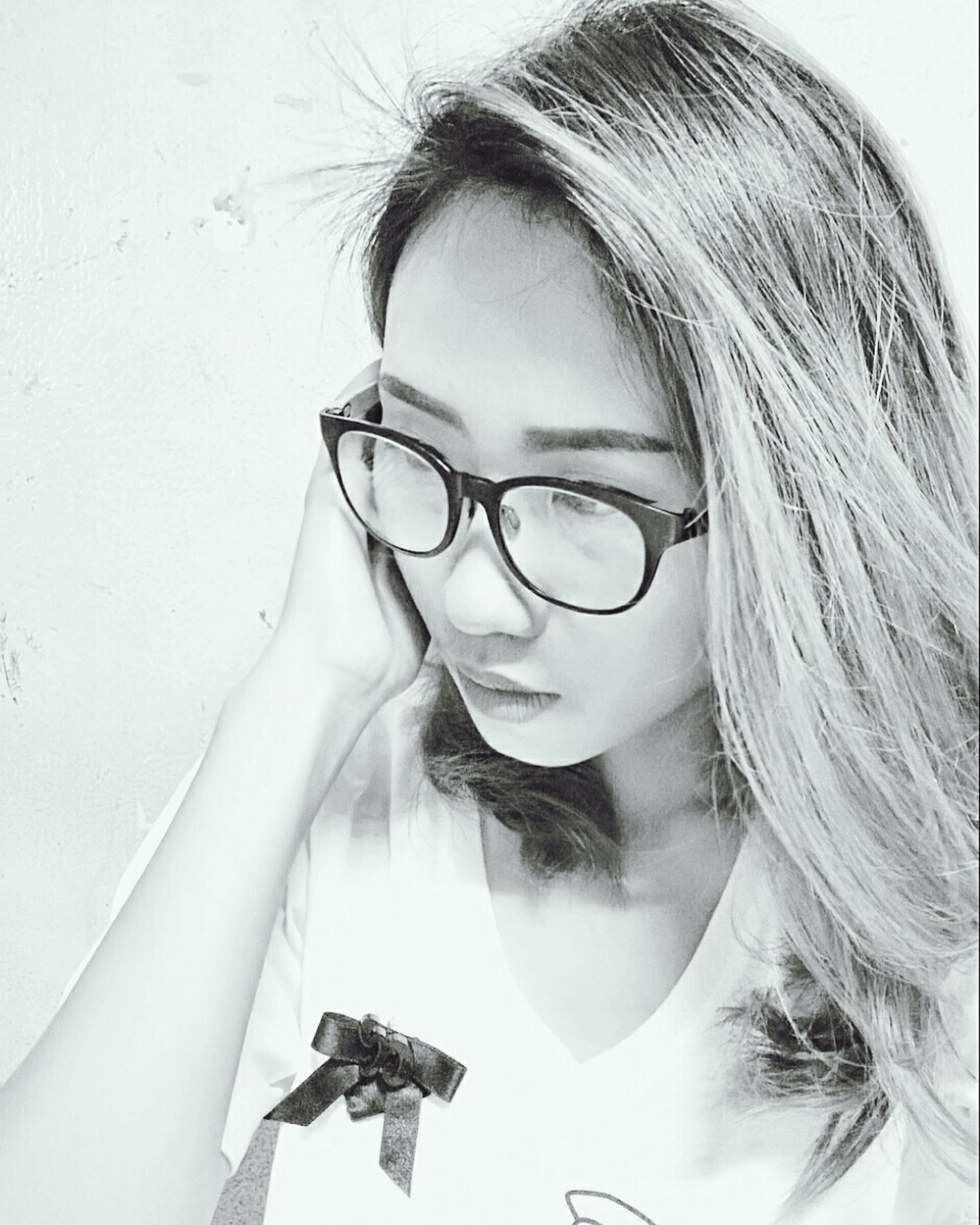 Close-up Eyeglasses  White Background I'm Asian Girl ♥ People Of EyeEm Yinggie Hello World Black & White Nite Nite ♥