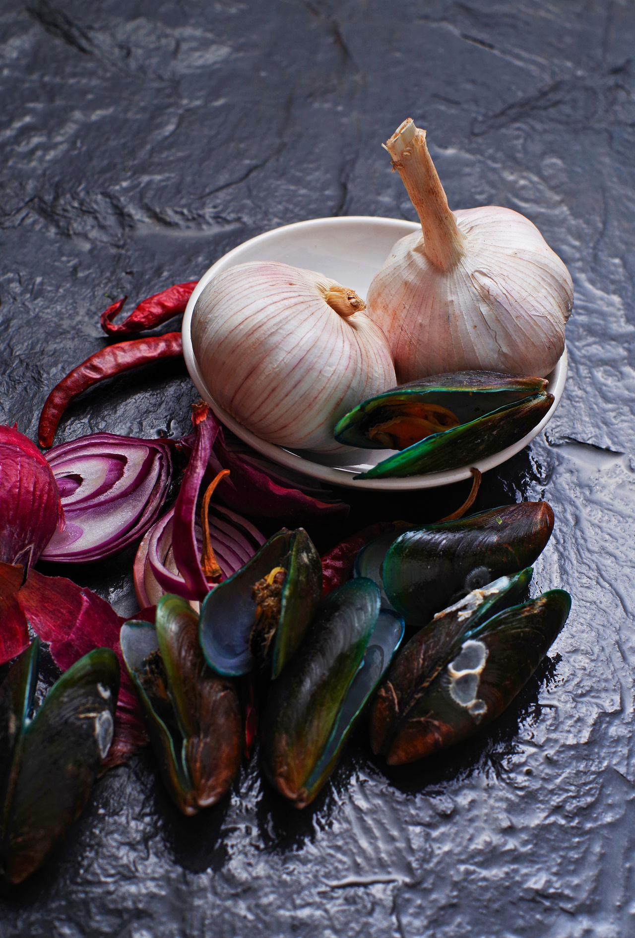 Black Background Close-up Cooking Food Preparation Garlic Ingredients Mussel No People Red Chili Pepper Seafood Shallot Studio Shot