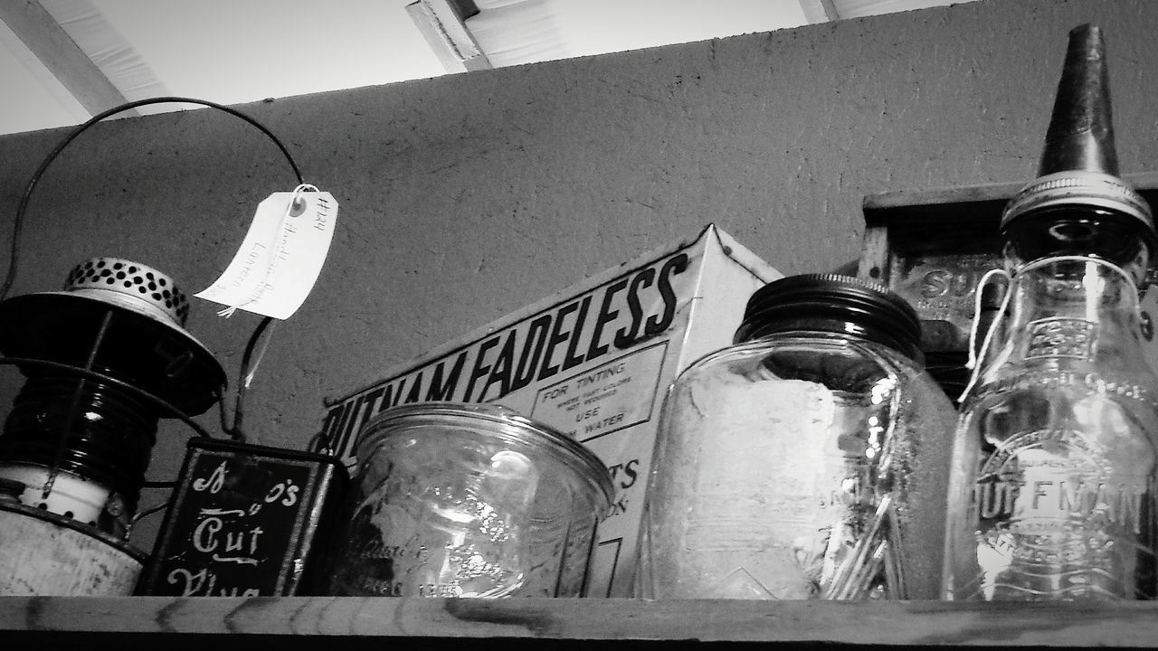 Shelf of old goodies... Glass Jars  Antique Treasures Tin Cans Lantern Junkin