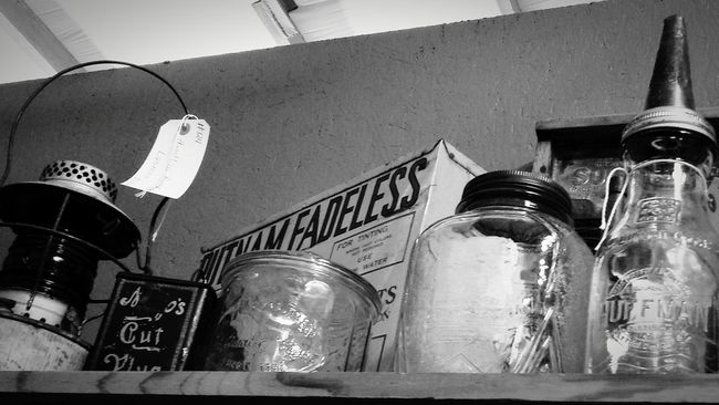 Shelf of old goodies... Glass Jars  Antique Treasures Tin Cans Lantern Junkin