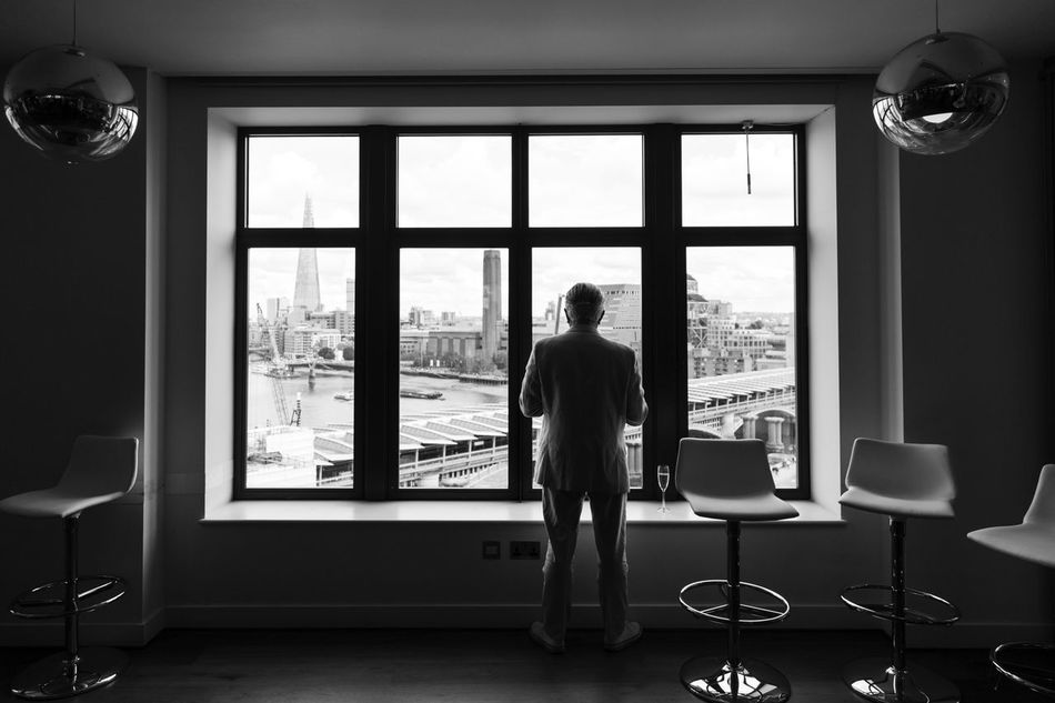 A man at the window Blackandwhite Blackfriars Bridge Greyman Londonview Lonliness Theshardlondon Thoughts Window View