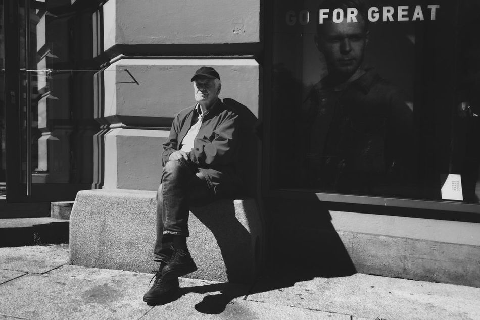 for great • Oslostreets Street Streetphotography Streetphoto_bw Streetbwcolor Streetsofoslo Only Men Outdoors