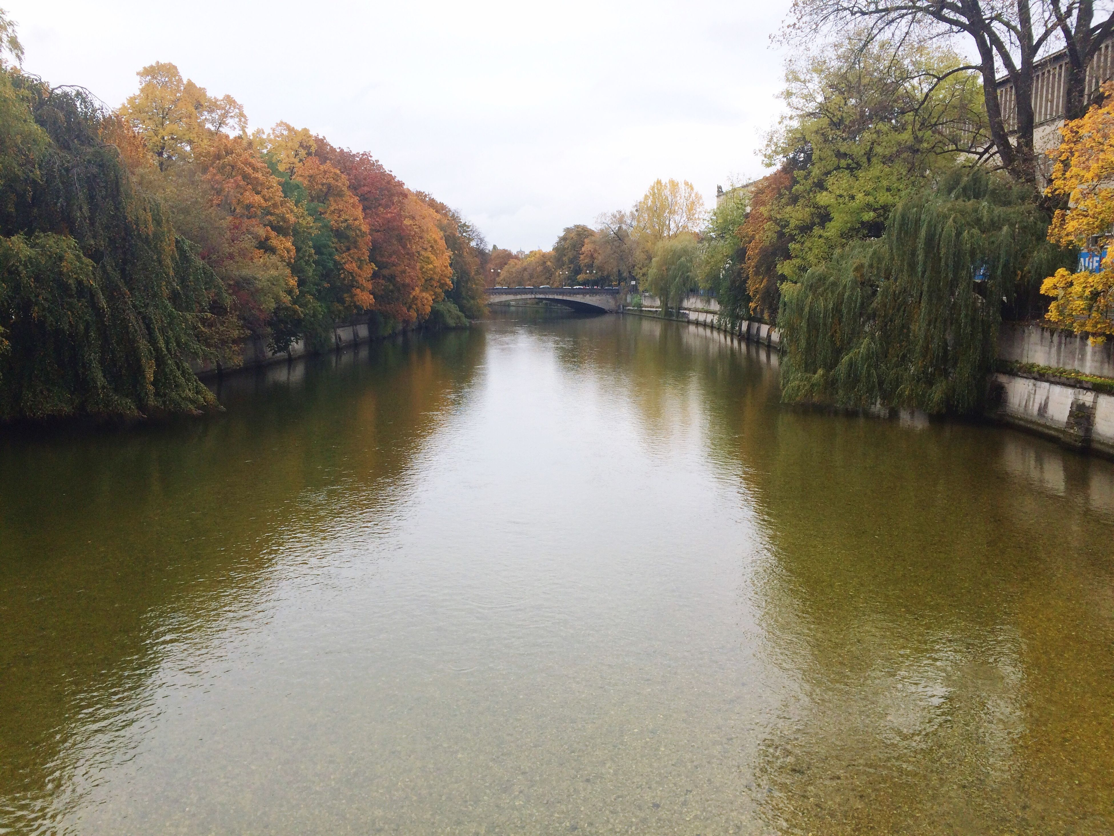 tree, water, waterfront, canal, river, reflection, tranquil scene, autumn, growth, change, tranquility, scenics, diminishing perspective, bridge - man made structure, nature, beauty in nature, day, travel destinations, sky, treelined, outdoors, tourism, no people, riverbank, park, non-urban scene