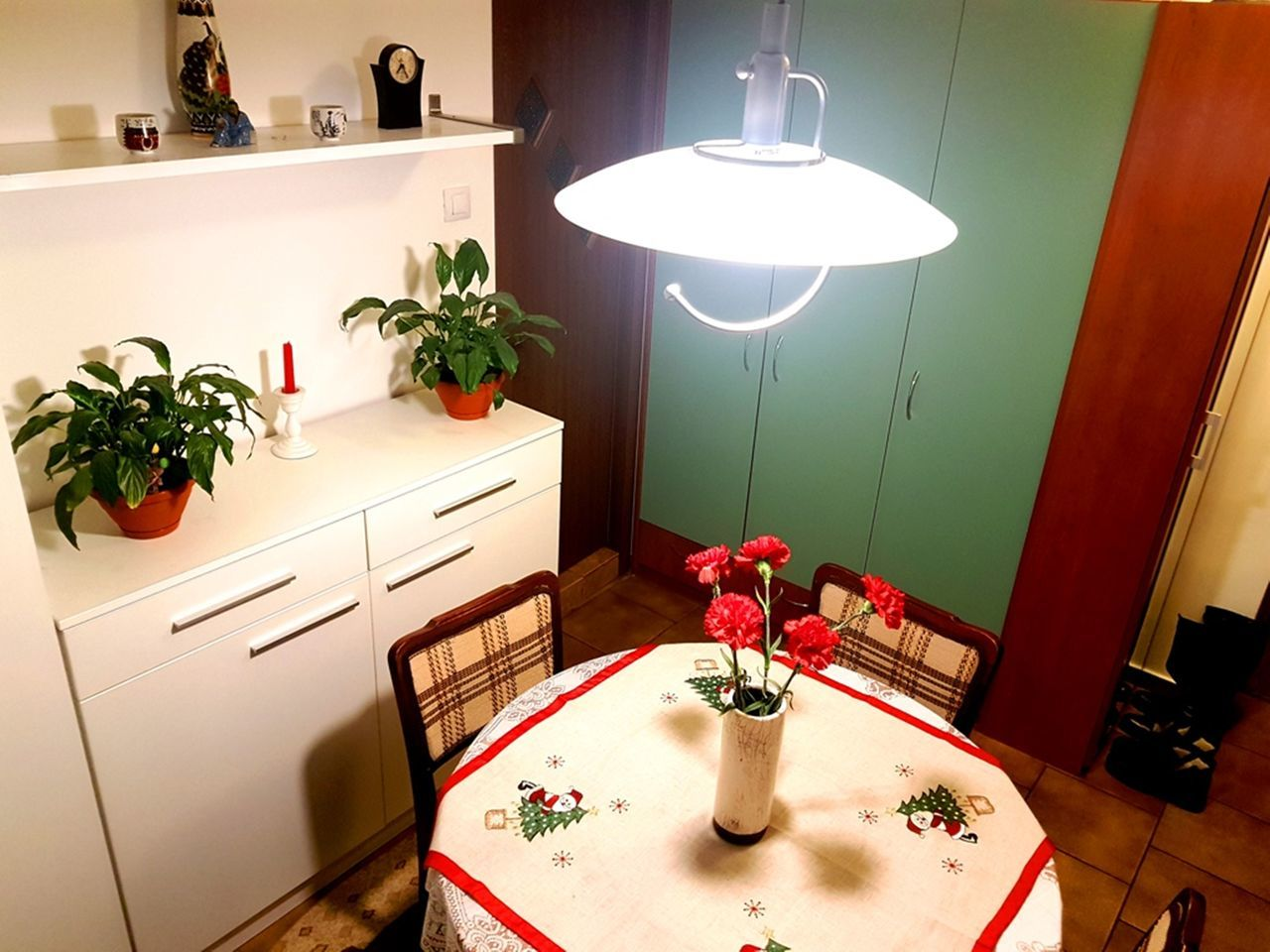 indoors, table, home interior, electric lamp, lighting equipment, illuminated, light bulb, no people, cabinet, red, domestic room, flower, home showcase interior